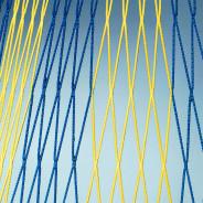 FOTBALOVÁ SÍŤ DVOUBAREVNÁ 107 4 mm 7,5x2,5x0,8x1,5m - Modrá, Žlutá